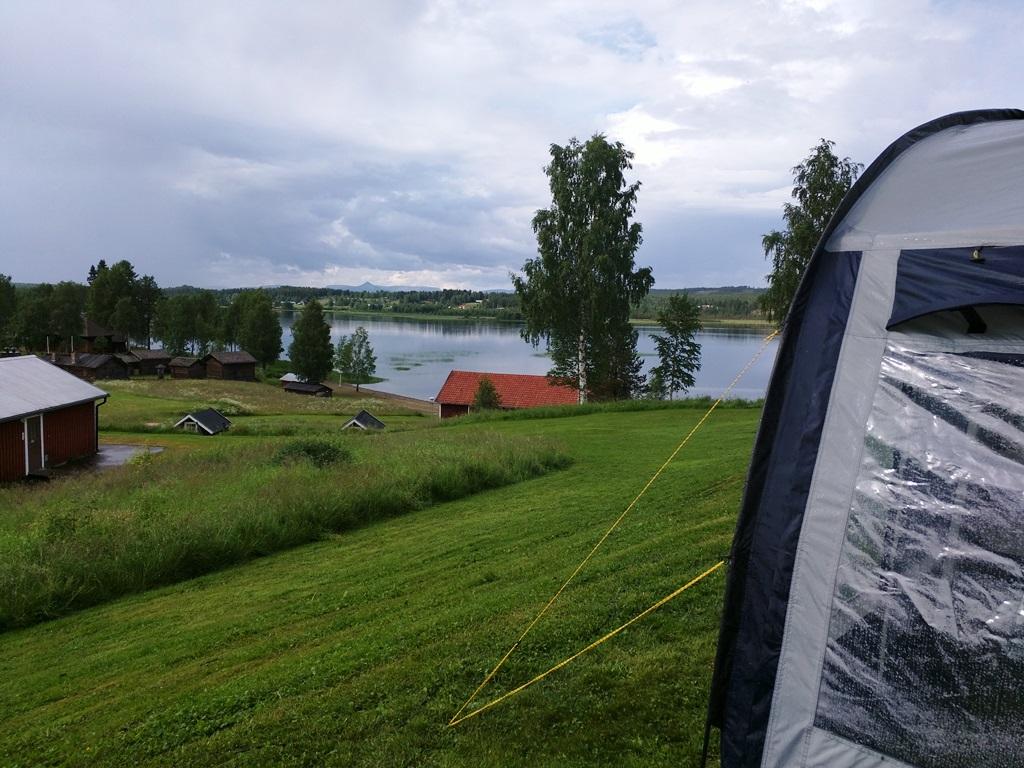 Uitzicht vanaf Särna Camping in Dalarna