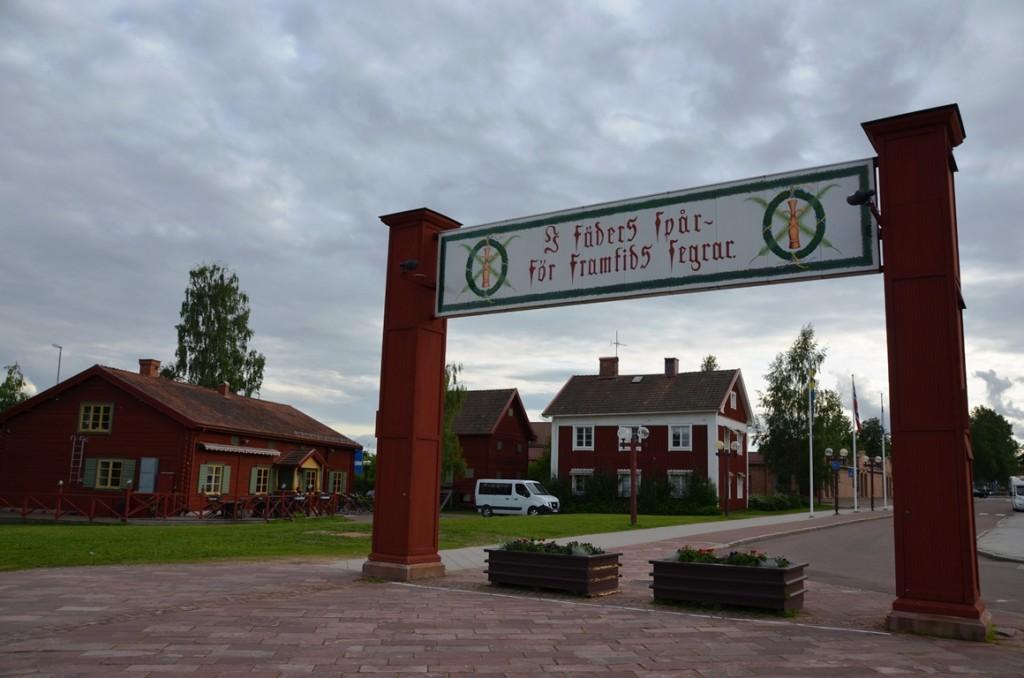 Finish van de Vasaloppet in Mora, Dalarna, Zweden